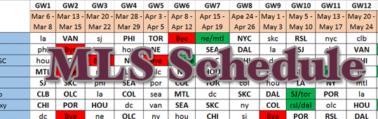 Updated Season Schedule (9/1/15)